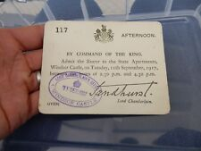 WW1 WINDSOR CASTLE ADMITTANCE CARD  11 SEPT 1917  RESEARCH THIS  WHO WHY ?