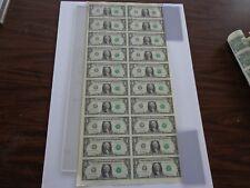 20 UNCUT SHEET $ 1 ($1 X 20) Legal USA 1 DOLLAR*Real Currency NOTES*RARE BILLS