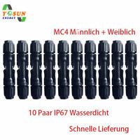 10 Paar MC4 Solar Stecker PV Sonnenkollektor Wasserdichtes IP67 Wechselrichter