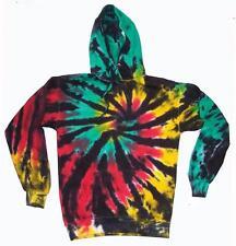 size MED RASTA REGGAE WEBBED TIE DYE HOODIE sweatshirt  tye dyed hippie UNISEX