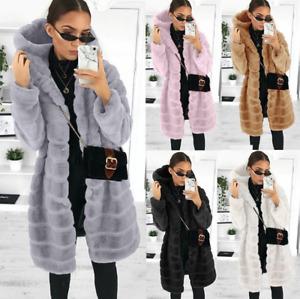 Women Ladies Coat Faux Fur Hooded Jacket Thick Winter Parka Outwear Coats Wear