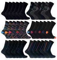 6 Pack Mens Black / Argyle / Stripe Patterned Fashion Cotton Crew Dress Socks