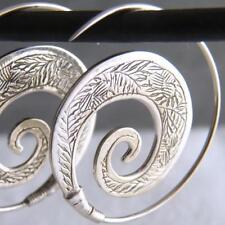 SPIRAL OPEN HOOPS Carved SILVERSARI Earrings Solid 925 Sterling Silver ES1001