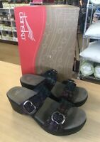 Dansko Sophie Black Stained Glass Leather Slide Sandals - EU 38 (US 7.5-8)