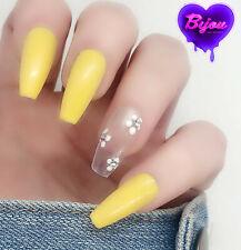 20 Set Yellow White Flower Hand Painted Press On Fake False Nails Glue Glitter