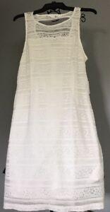 New Jack by BB Dakota Hazeline Stripey Lace Tank Dress Ivory Womens 8 Open Back
