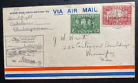 1929 Oskelaneo Canada Airmail First Flight Cover FFC To Winnipeg