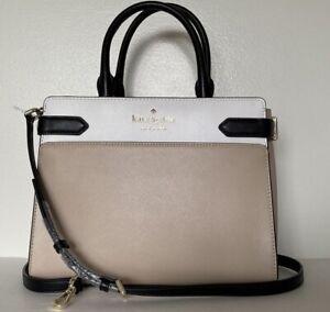 New Kate Spade New York Staci Medium Satchel Leather Warm Beige multi