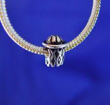 Basketball Hoop Ball Net Team Girls Silver European Charm Bead for bracelet