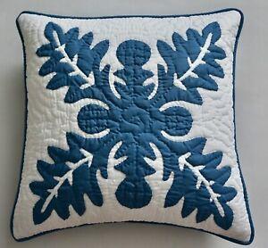 2 Hawaiian quilt handmade hand quilted/appliquéd cushions pillow covers D. BLUE