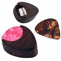 HN- Mini Rose Wood Acoustic Guitar Pick Plectrum Holder Case Box Heart Shaped