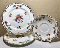 """Noritake Japan Dresdoll Hand Painted Floral Gold Saucer 5"""" & 2 Plates 6.5"""" (3PC)"""