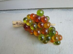 Vintage Mid Century Modern Large Lucite Acrylic Resin Grape Cluster Amber+Green+