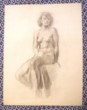 Nude Female Original Charcoal Painting by Artist Robert Chisholm 1947 Great Gift