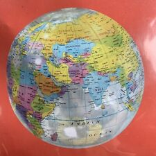 11.5� Inflatable Clear See Through Globe Printed Beach Ball Toy Decoration