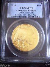 2010 $50 American Buffalo 1 oz .9999 fine 24k gold PCGS MS70 in wood display