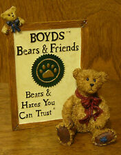 Boyds Bearstones #2298 Malcolm with Friend Boyds Sign, From Retail Store