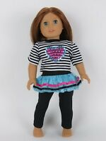 "Doll Clothes 18"" Pants Skirt Top Stripe Heart Fits American Girl"