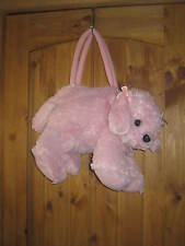 Stuffed Plush Pink Dog Over Night Bag Purse Carry All  Puppy Zip Closure Handles