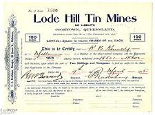 Share Scrip - Mining. 1915 Lode Hill Tin Mines - Cooktown Qld