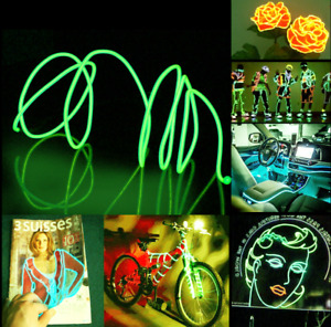 LED EL Wire Neon Light Glow String Strip 5m Rope Car Decor Party Green Tube Lamp
