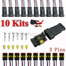 10x 3-Pin Car Way Sealed Waterproof Electrical Wire Auto Connector Plug
