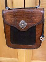 Vintage Brighton Heart Brown Black Leather Croc Embossed Crossbody Purse Bag EUC