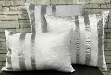 Crush Velvet silver Glitter stripe Cushions Covers or filled cushions WHITE