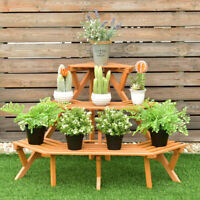 3 Tier Wood Corner Display Rack Shelf Flower Stand Plant Ladder Pot Holder
