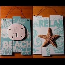 SET of 2 SAND DOLLAR SHELL STARFISH BEACH & RELAX SIGNS Coastal Wood Home Decor