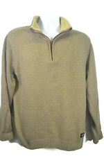 Dickies 1/4 Zip Pullover Sweater Sherpa Lined Collar LG Cotton Blend Beige