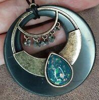 Pendant Shungite Triple Moon Necklace Jewelry Pentagram Wiccan Goddess