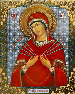 RELIGEOUS Icon SEVEN SWORDS  PRINT ON BOARD  CHRISTIAN ORTHODOX