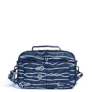 New Lug Travel SCOOP Crossbody Shoulder RFID  Bag Quilted NAUTICAL NAVY Blue