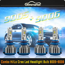 9005 9006 CREE LED Total 140W 14400LM Combo Headlight High Low 6000K White Kit