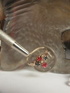 GENUINE 375 YELLOW GOLD LADIES SAPPHIRE , RUBY & DIAMOND CLUSTER RING !