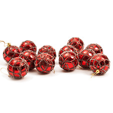 Christmas Tree Hanging Bauble Decorations (60mm) 12 x Glitter Design (Red)