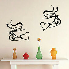 2 Coffee Cups Decal Cafe Kitchen Restaurant Wall Stickers Mural Art Decor