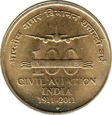 "India 5 Rupees 2011"" 100 years of civil aviation"""