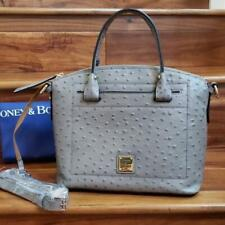 Dooney & Bourke Grey Ostrich Embossed Leather Domed Satchel Bag