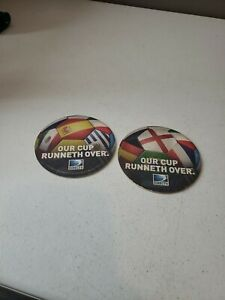 """Lot of Two 2014 DIRECT TV  Beer Coaster """"Our Cup Runneth Over"""""""
