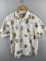 Natural Issue Men's Vintage Short Sleeve Hawaiian Sailing Shirt Size XL White