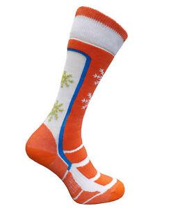 Women Girls Ski Socks Wool Long Warm Winter Snowboard Thermal Orange 2 sizes