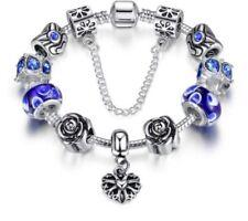 Luxury 925 Silver Plated Bracelet Heart Charm Murano Beads For Women DIY Jewelry