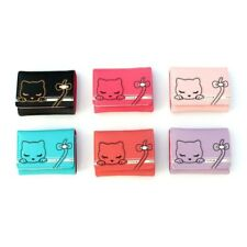Cute Short Purse Cartoon PU Leather Cat Pattern Lovely Bow Wallets Card Holders