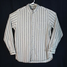 LUCKY Brand Men's Floral Striped White Long Sleeve Shirt Size L