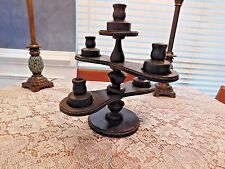 "Wood and rope candle holder candelabra tiered 5 candles 15 1/2"" handmade"