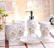 5PCS/Set Bathroom Accessories Ceramic Cup Toothbrush Holder Soap Dish New