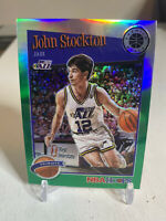 2019-20 NBA Hoops Premium John Stockton - Green Prizm #292 Utah Jazz HOF