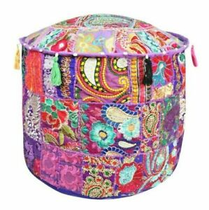 Indian Round Pouf Vintage Ottoman Patchwork Footstool Embroidered Pouffe Cover